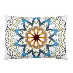 Prismatic Flower Floral Star Gold Green Purple Orange Pillow Case by Alisyart