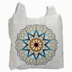 Prismatic Flower Floral Star Gold Green Purple Orange Recycle Bag (two Side)  by Alisyart