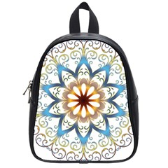 Prismatic Flower Floral Star Gold Green Purple Orange School Bags (small)