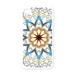 Prismatic Flower Floral Star Gold Green Purple Orange Apple Iphone 4 Case (white) by Alisyart