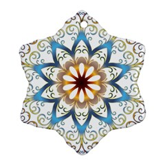 Prismatic Flower Floral Star Gold Green Purple Orange Snowflake Ornament (two Sides) by Alisyart