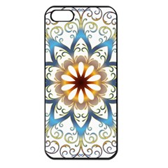 Prismatic Flower Floral Star Gold Green Purple Orange Apple Iphone 5 Seamless Case (black)