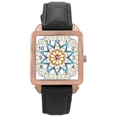 Prismatic Flower Floral Star Gold Green Purple Orange Rose Gold Leather Watch  by Alisyart