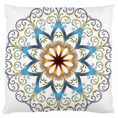 Prismatic Flower Floral Star Gold Green Purple Orange Large Flano Cushion Case (one Side) by Alisyart