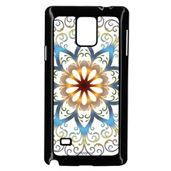 Prismatic Flower Floral Star Gold Green Purple Orange Samsung Galaxy Note 4 Case (black)