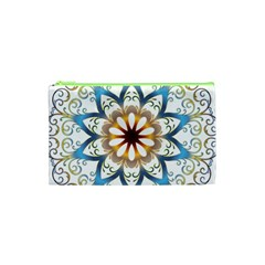 Prismatic Flower Floral Star Gold Green Purple Orange Cosmetic Bag (xs)