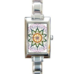 Prismatic Flower Floral Star Gold Green Purple Rectangle Italian Charm Watch by Alisyart