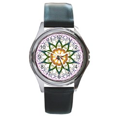 Prismatic Flower Floral Star Gold Green Purple Round Metal Watch by Alisyart
