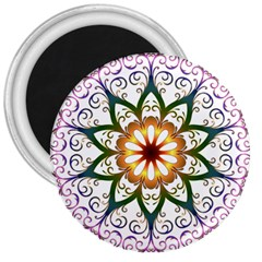 Prismatic Flower Floral Star Gold Green Purple 3  Magnets by Alisyart