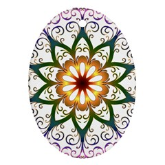 Prismatic Flower Floral Star Gold Green Purple Ornament (oval) by Alisyart