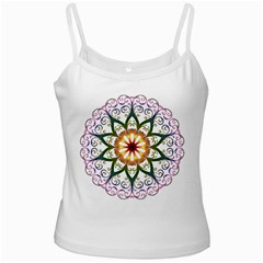 Prismatic Flower Floral Star Gold Green Purple White Spaghetti Tank by Alisyart