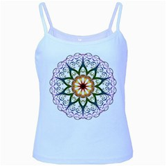 Prismatic Flower Floral Star Gold Green Purple Baby Blue Spaghetti Tank by Alisyart