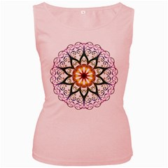 Prismatic Flower Floral Star Gold Green Purple Women s Pink Tank Top