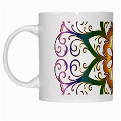 Prismatic Flower Floral Star Gold Green Purple White Mugs by Alisyart
