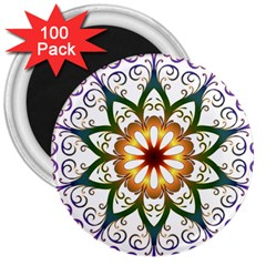 Prismatic Flower Floral Star Gold Green Purple 3  Magnets (100 Pack) by Alisyart