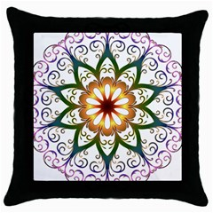 Prismatic Flower Floral Star Gold Green Purple Throw Pillow Case (black) by Alisyart