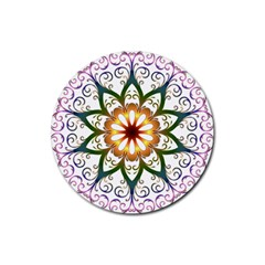 Prismatic Flower Floral Star Gold Green Purple Rubber Coaster (round)  by Alisyart