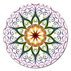Prismatic Flower Floral Star Gold Green Purple Magnet 5  (round) by Alisyart