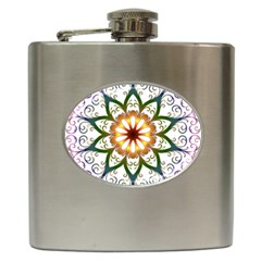 Prismatic Flower Floral Star Gold Green Purple Hip Flask (6 Oz) by Alisyart
