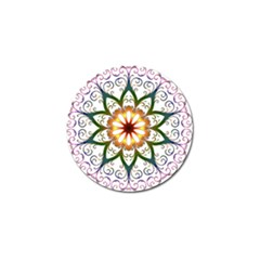 Prismatic Flower Floral Star Gold Green Purple Golf Ball Marker by Alisyart