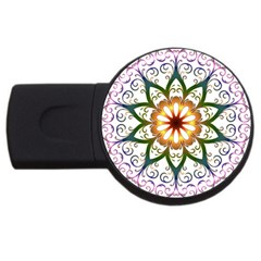 Prismatic Flower Floral Star Gold Green Purple Usb Flash Drive Round (2 Gb) by Alisyart