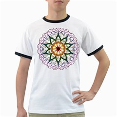 Prismatic Flower Floral Star Gold Green Purple Ringer T-shirts by Alisyart