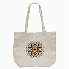Prismatic Flower Floral Star Gold Green Purple Tote Bag (cream)