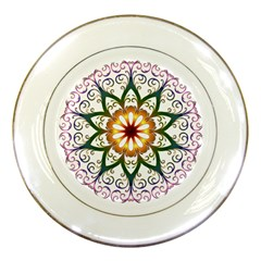 Prismatic Flower Floral Star Gold Green Purple Porcelain Plates by Alisyart