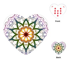 Prismatic Flower Floral Star Gold Green Purple Playing Cards (heart)  by Alisyart