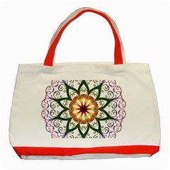 Prismatic Flower Floral Star Gold Green Purple Classic Tote Bag (red) by Alisyart