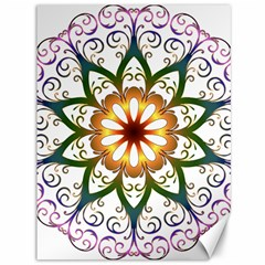 Prismatic Flower Floral Star Gold Green Purple Canvas 36  X 48   by Alisyart