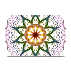 Prismatic Flower Floral Star Gold Green Purple Plate Mats by Alisyart