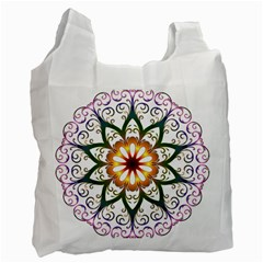 Prismatic Flower Floral Star Gold Green Purple Recycle Bag (one Side) by Alisyart