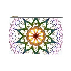 Prismatic Flower Floral Star Gold Green Purple Cosmetic Bag (large)  by Alisyart