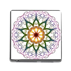 Prismatic Flower Floral Star Gold Green Purple Memory Card Reader (square) by Alisyart