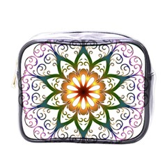 Prismatic Flower Floral Star Gold Green Purple Mini Toiletries Bags by Alisyart