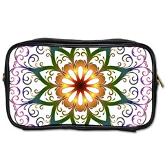 Prismatic Flower Floral Star Gold Green Purple Toiletries Bags by Alisyart