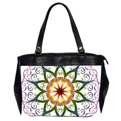 Prismatic Flower Floral Star Gold Green Purple Office Handbags (2 Sides)