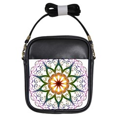 Prismatic Flower Floral Star Gold Green Purple Girls Sling Bags by Alisyart