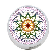 Prismatic Flower Floral Star Gold Green Purple 4 Port Usb Hub (one Side) by Alisyart