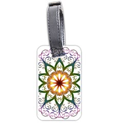 Prismatic Flower Floral Star Gold Green Purple Luggage Tags (two Sides) by Alisyart
