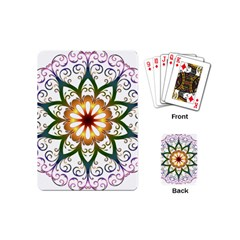Prismatic Flower Floral Star Gold Green Purple Playing Cards (mini)  by Alisyart