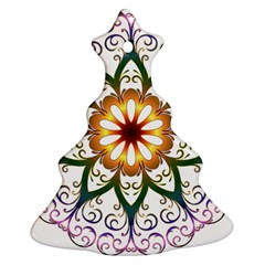 Prismatic Flower Floral Star Gold Green Purple Ornament (christmas Tree)