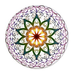 Prismatic Flower Floral Star Gold Green Purple Round Filigree Ornament (two Sides) by Alisyart
