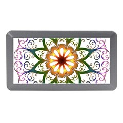 Prismatic Flower Floral Star Gold Green Purple Memory Card Reader (mini) by Alisyart