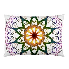 Prismatic Flower Floral Star Gold Green Purple Pillow Case (two Sides) by Alisyart