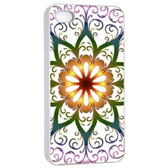 Prismatic Flower Floral Star Gold Green Purple Apple Iphone 4/4s Seamless Case (white) by Alisyart