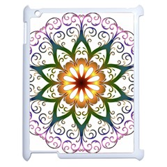 Prismatic Flower Floral Star Gold Green Purple Apple Ipad 2 Case (white)