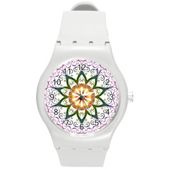 Prismatic Flower Floral Star Gold Green Purple Round Plastic Sport Watch (m) by Alisyart