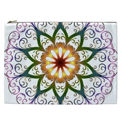 Prismatic Flower Floral Star Gold Green Purple Cosmetic Bag (xxl)  by Alisyart